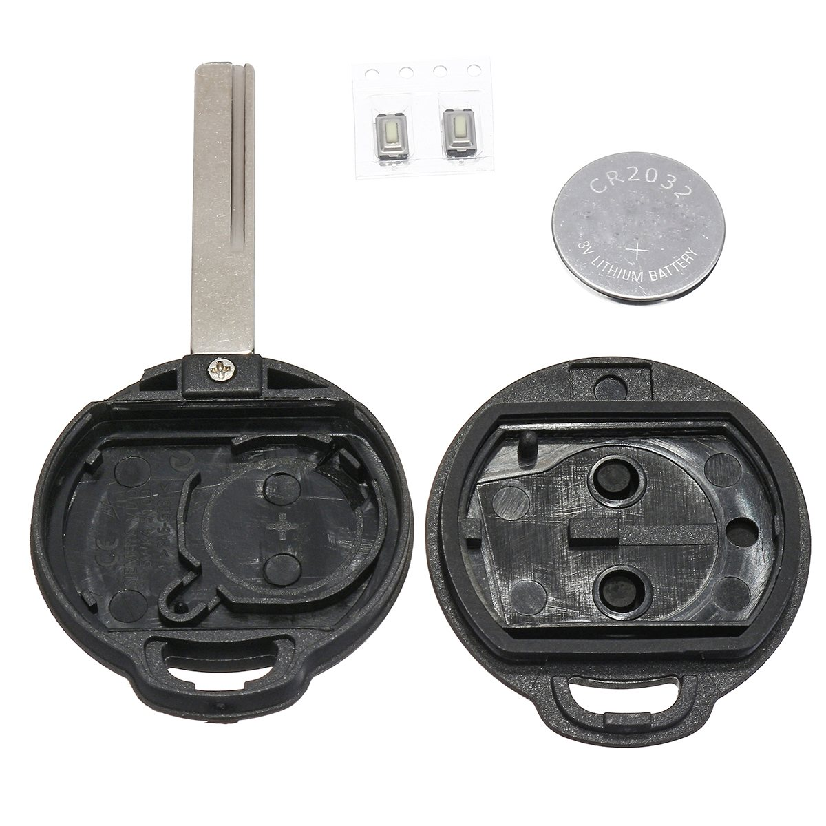 2 Buttons Car Remote Key Fob Case Shell Replacement Kit Cr2032 With