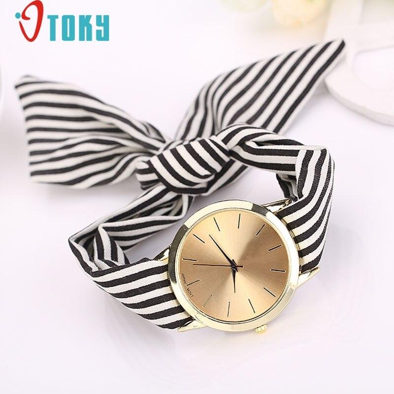 quartz wristwatches Willby Fashion Women Striped Cloth Quartz Dial Bracelet Wristwatch Watch DEC12 l 10 women s stylish petals style bracelet quartz analog wristwatch golden white 1 x lr626