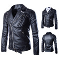 2015 New autumn stand-collar casual diagonal zipper men pu leather jacket outwear coat black color size M-XXL CY105