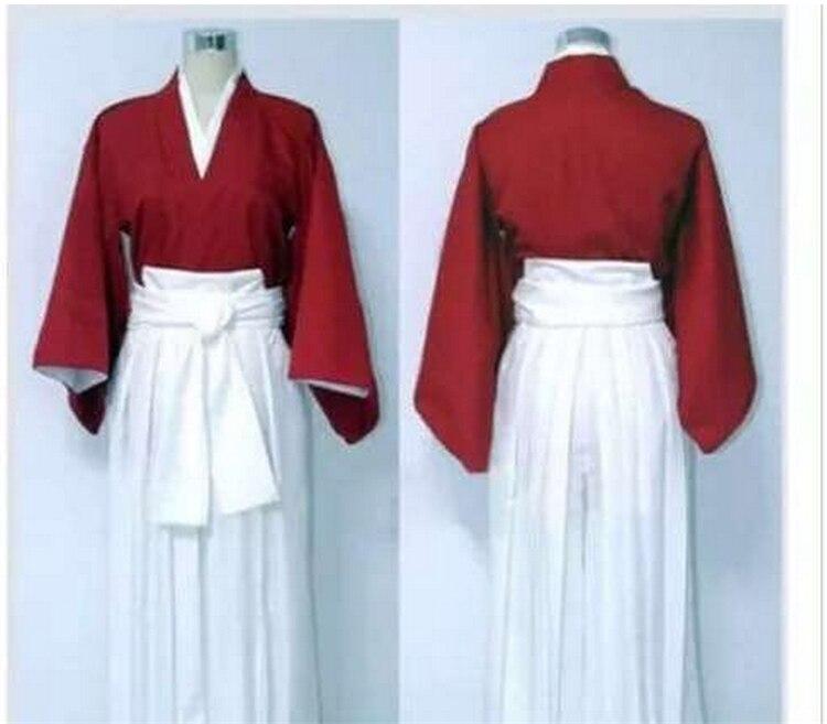 Anime Rurouni Kenshin Himura Kenshin Hitokiri Battosai Cosplay Kimono Kendo Uniform Costume top pants belt Free