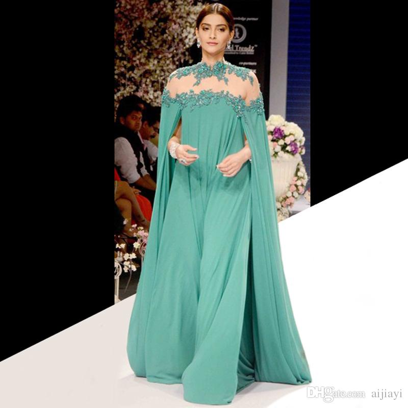 2017 Gorgeous Green Sonam Kapoor Long Sleeve Evening Dresses Indian High Neck Y Prom Dress Party Gown Robe De Soiree Hot In From