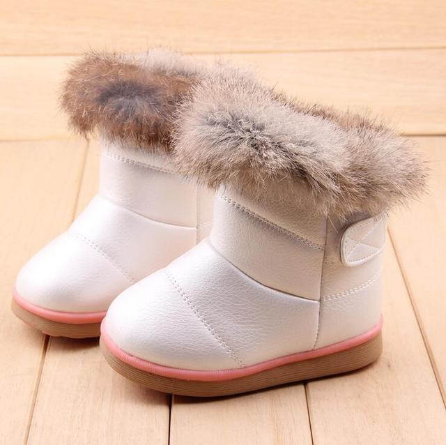 2016 Invierno Cálido Paño De Lana Con Siesta Suave De Pelo de Conejo de piel Botas Zapatos de la Nieve Para Las Niñas Botas de Suela De Goma Bebé EU21-30