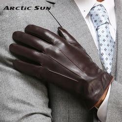 Guantes de cuero genuino de alta calidad para hombre, Guantes Térmicos de piel de oveja para invierno, guantes de muñeca esbeltos para conducir EM011