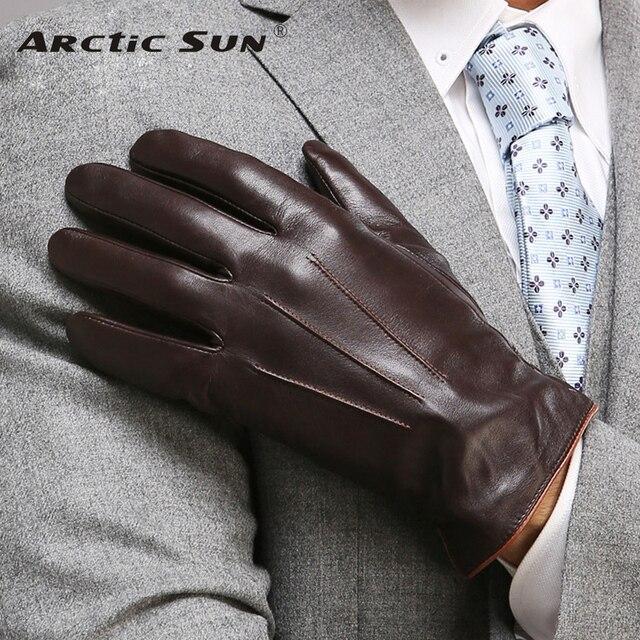 Için en kaliteli hakiki deri eldiven erkekler termal kış dokunmatik ekran koyun derisi eldiven moda ince bilek sürüş EM011