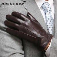 Top Qualität Aus Echtem Leder Handschuhe Für Männer Thermische Winter Touchscreen Schaffell Handschuh Fashion Dünne Handgelenk Driving EM011