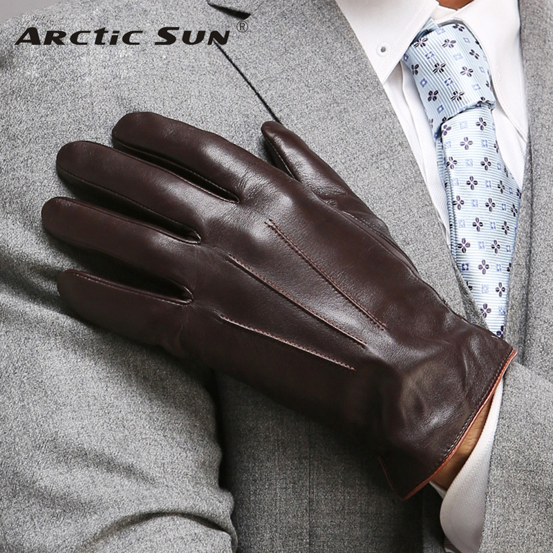 Högkvalitativa äkta läderhandskar för män Termisk vinter Pekskärm Fårskinnshandske Mode Slim Wrist Driving EM011