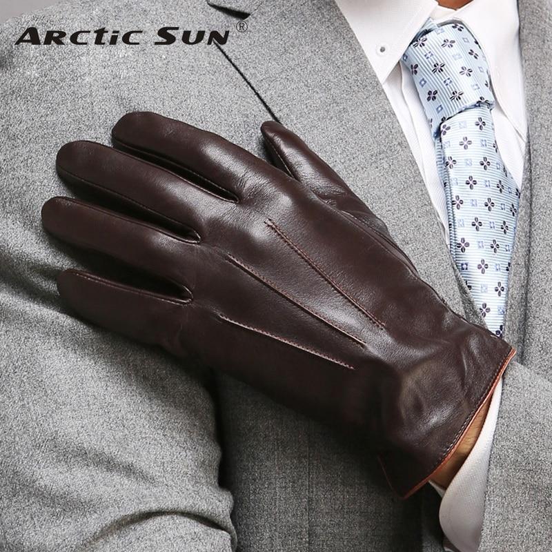 Top Manusi de calitate din piele naturala pentru barbati Thermal Iarna Touch Screen Geanta din piele de oaie Moda Slim Wrist Driving EM011