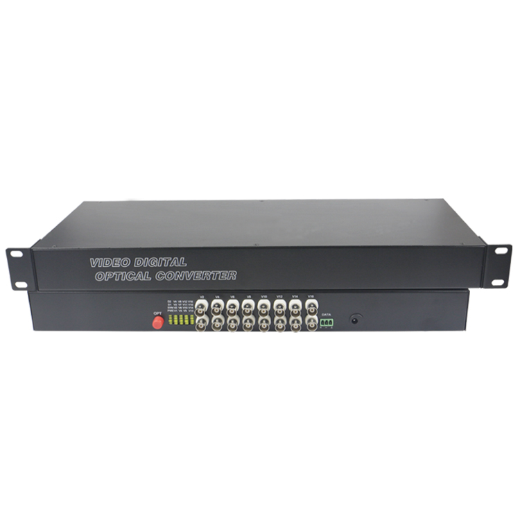 16 CH Video Fiber Optical Media Converters -16 BNC Transmitter Receiver 19'' Rack Single mode 20Km For CCTV Surveillance system