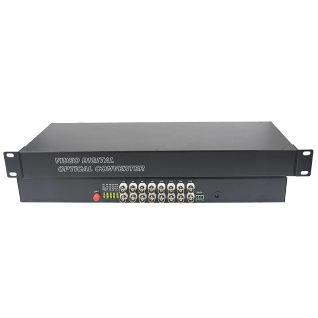 16 CH Video Fiber Optical Media Converters -16 BNC Transmitter Receiver 19'' Rack Single mode 20Km For CCTV Surveillance system