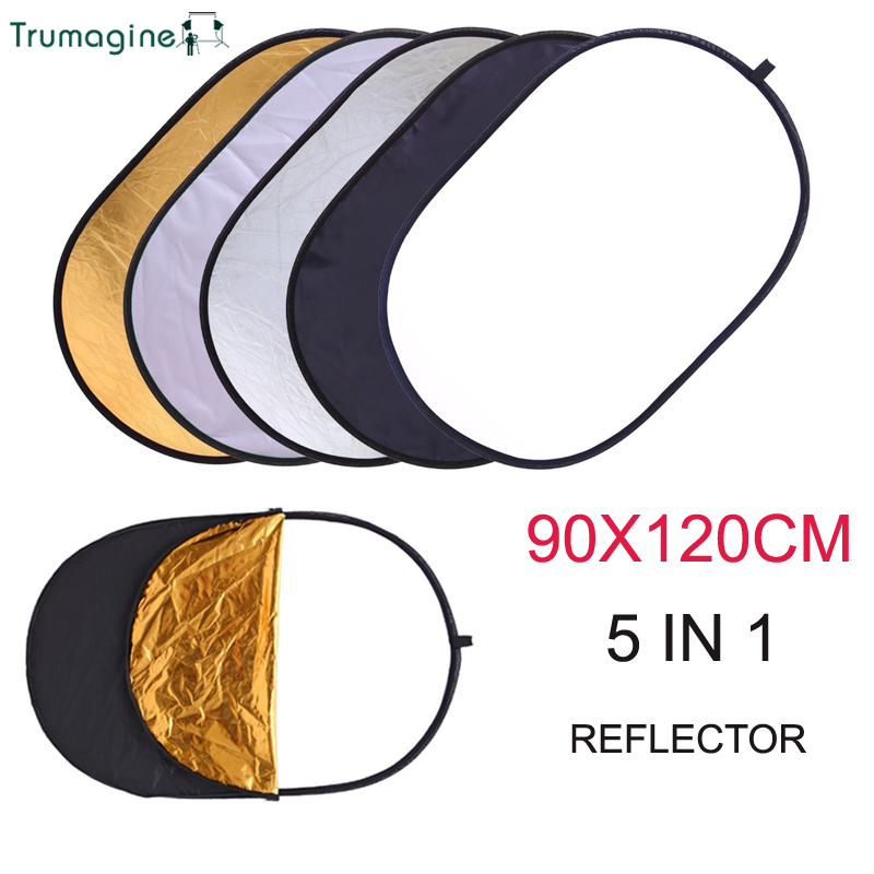 90 120CM 5 in 1 Portable Foldable Studio Photo Collapsible Multi-Disc Light Photographic Light Reflector for home with Carrying