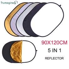 90x120 cm 5 in 1 แผ่นถ่ายภาพสตูดิโอถ่ายภาพสะท้อนแสงรูปไข่ Reflector handhold แบบพกพา disc