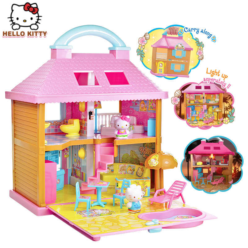 Hello Kitty toys for children  seaside resort hotel girl house big house toy doll house happy family house for girls kids gift