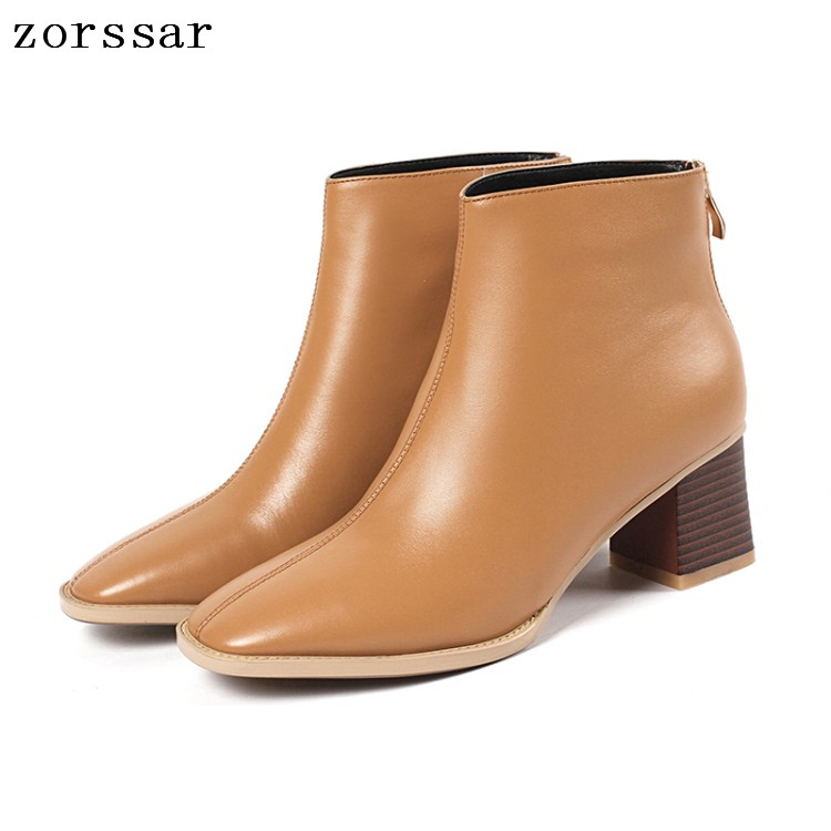 {Zorssar} 2019 New Big Size 33-43 Women Boots Genuine Leather High heel Ankle Boots Womens Martin boots Winter Female booties zorssar 2017 new winter ladies shoes fashion real leather women ankle boots high heels platform womens martin boots size 33 43