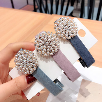 Korea Hair Accessories Leather Pearl Diamond Flower Clips For Girls Crystal  Duckbill Clip Bows Hairpins Barrette