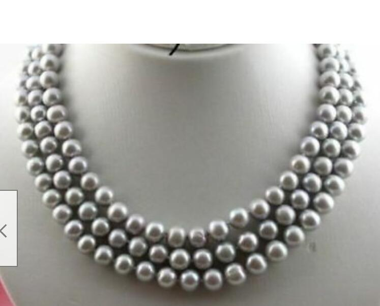 Charming 3rows AAA 10 9 mm natural grey pearl necklace 17 18 19 Yellow clasp