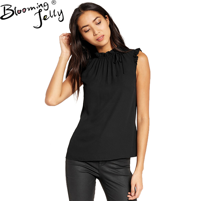 2924d0c027d19d Blooming Jelly Ruffled O-neck Adjustable Rope Top Sleeveless Black Chiffon  Blouse Back Button Casual Women Summer Blouses Shirt