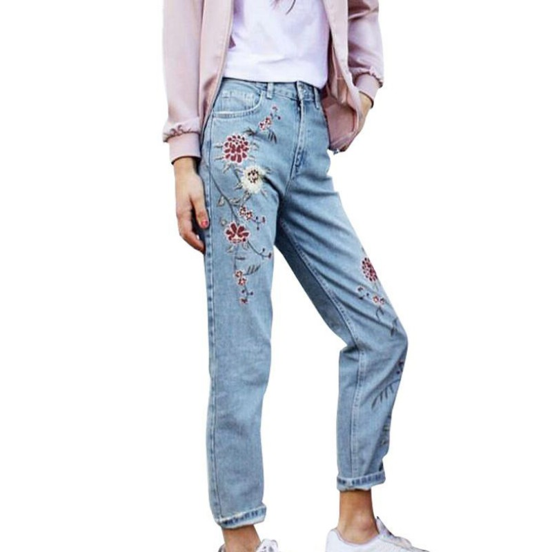 Spring Fashion Vintage Flower Embroidery Women Light Blue Casual Pants Pockets Bottom Straight Jeans flower embroidery jeans female blue casual pants capris 2017 spring summer pockets straight jeans women bottom a46