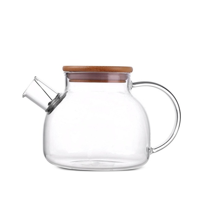 33oz Heat Resistant Filter Strainer Gl Teapot Pitcher With Bamboo Lid Kettle Water