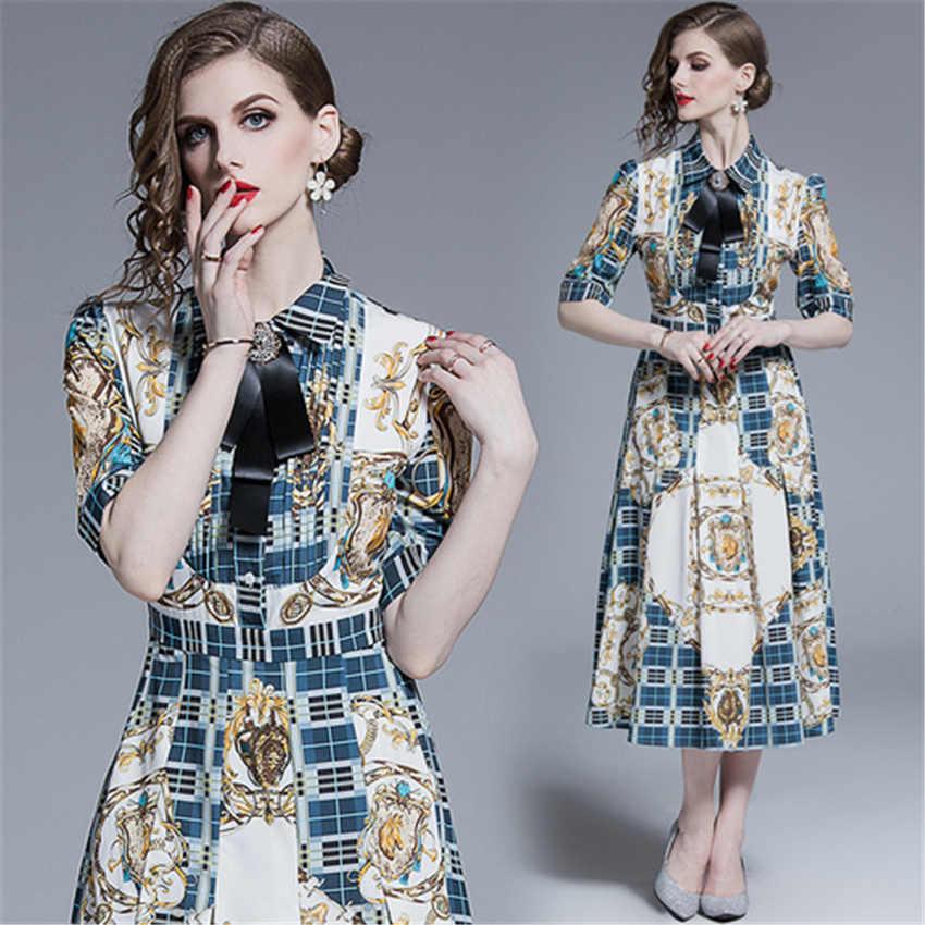 Lüks Baskı Vintage Casual Gömlek Elbise Kadın Sonbahar Pist Tasarımcısı Elbiseler Yüksek Kalite Moda Robe Femme vestidos de verano