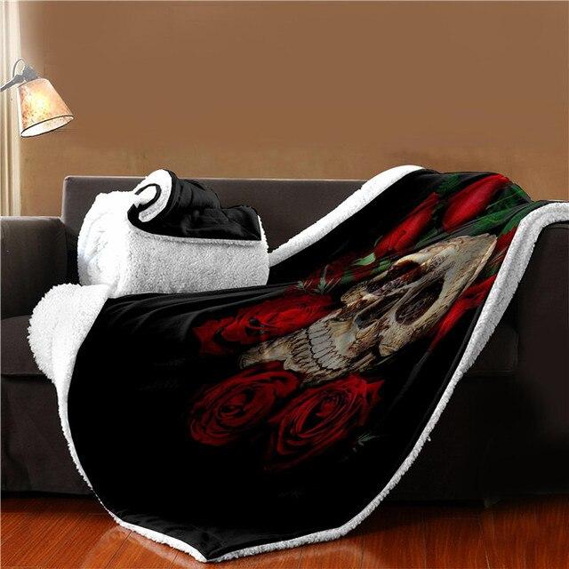 Floral Skull Throw Blanket 4