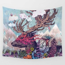 Tapestry Deer Eyes Rain Bone Forest Wall Hanging Art Set Splatter Painting Home Decor