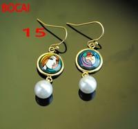 Cloisonne hand painted enamel European style earrings 15