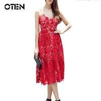 OTEN 2017 Runway Summer dress women crochet lace pin up autorretrato de Mitad de la Pantorrilla túnica ahuecan hacia fuera la correa de espagueti vestido del vendaje