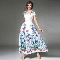 Short Sleeve Slim Maxi Dresses Casual A Line Autumn Long Dress V Neck Floral Flower Print Maxi Length Large Swing Dresses 2018