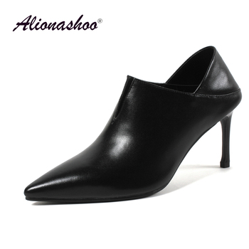 Plus Size 34-43 Sexy High Heels For Women Shallow Ladies Genuine Leather Office Shoes Fashion Pointed Toe Thin High Heel Shoes