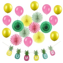 19pcs/set Party Decorations Summer Swimming Pool Beach Pineapple Banners New Decor