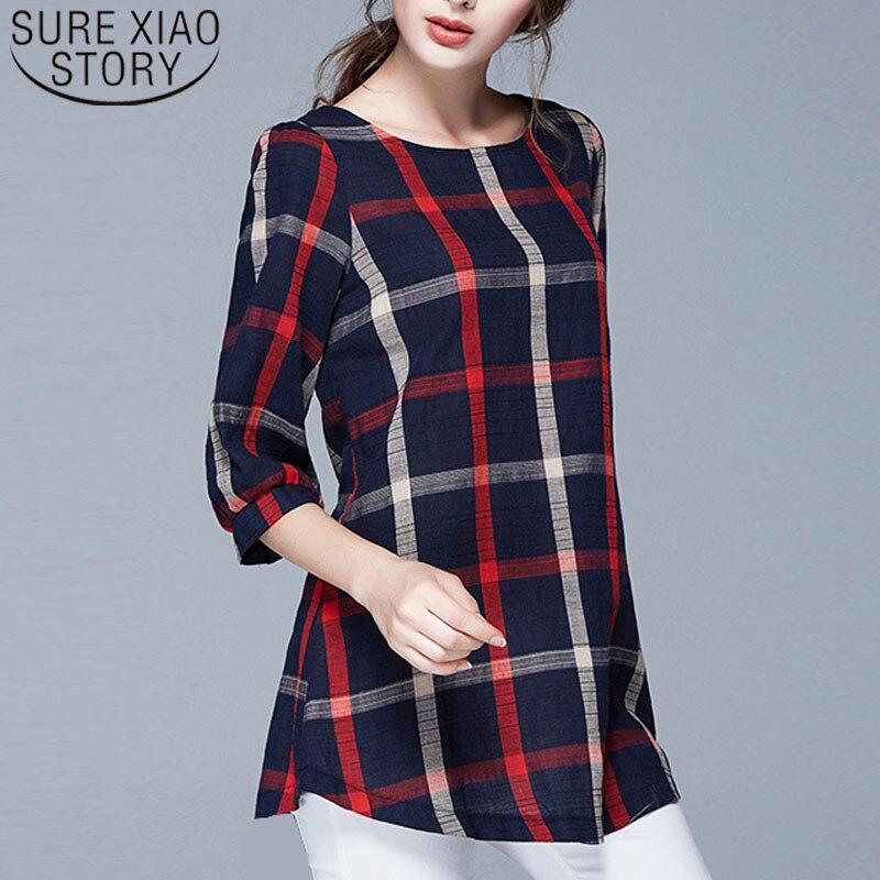2019 mulheres primavera blusa e tops ladies tops plus size blusas feminina blusa xadrez camisas das mulheres roupas femininas 137A 20