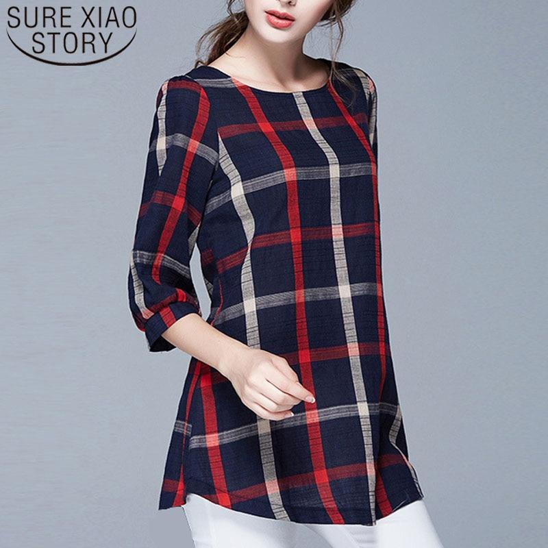 2019 Spring Women Blouse And Tops Ladies Tops Plus Size Blouses Feminina Women's Plaid Blouse Shirts Women Clothing 137A 20