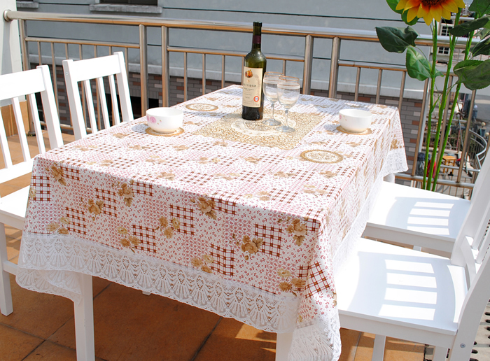 Rustic coffee small flower quality pvc waterproof type table cloth oil disposable tablecloth zb10