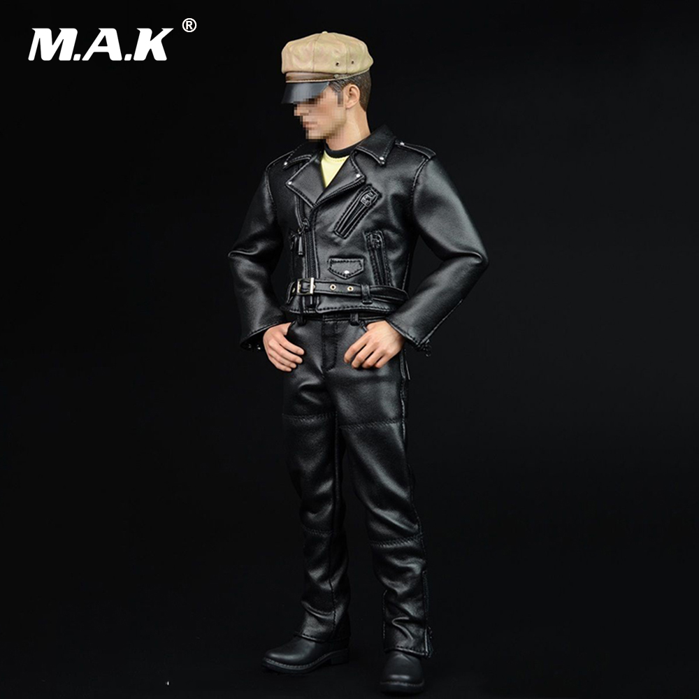 1/6 Scale Male Figure Cloth Locomotive Black Leather Set & Hat & Boots for 12 Male Action Figure Body Doll 1 6 scale figure doll head shape for 12 action figure doll accessories iron man 2 whiplash mickey rourke male head carved