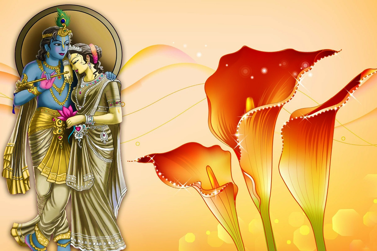 lord radha krishna and flowers TJZK924 canvas fabric poster custom ...