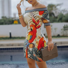 купить 2019 Spring Women Elegant Sexy Bodycon Mini Party Dresses Ladies Off Shoulder Bird Pattern Striped Tape Splicing Dress по цене 781.79 рублей