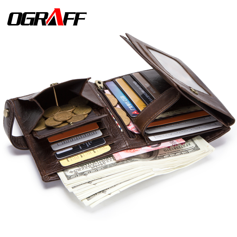 OGRAFF Wallet Men's Genuine Leather Purse For Men Passport Cover Men's Wallet Business Card Holder Clutch Male Coin Purse Wallet contacts cow leather men casual clutch wallet card holder zipper purse with passport holder phone case for male long wallet