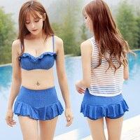 Rhyme Lady Cute Bikini Set Swimwear Women Sexy Design Push Up Skirt Biquini With Mesh Cover