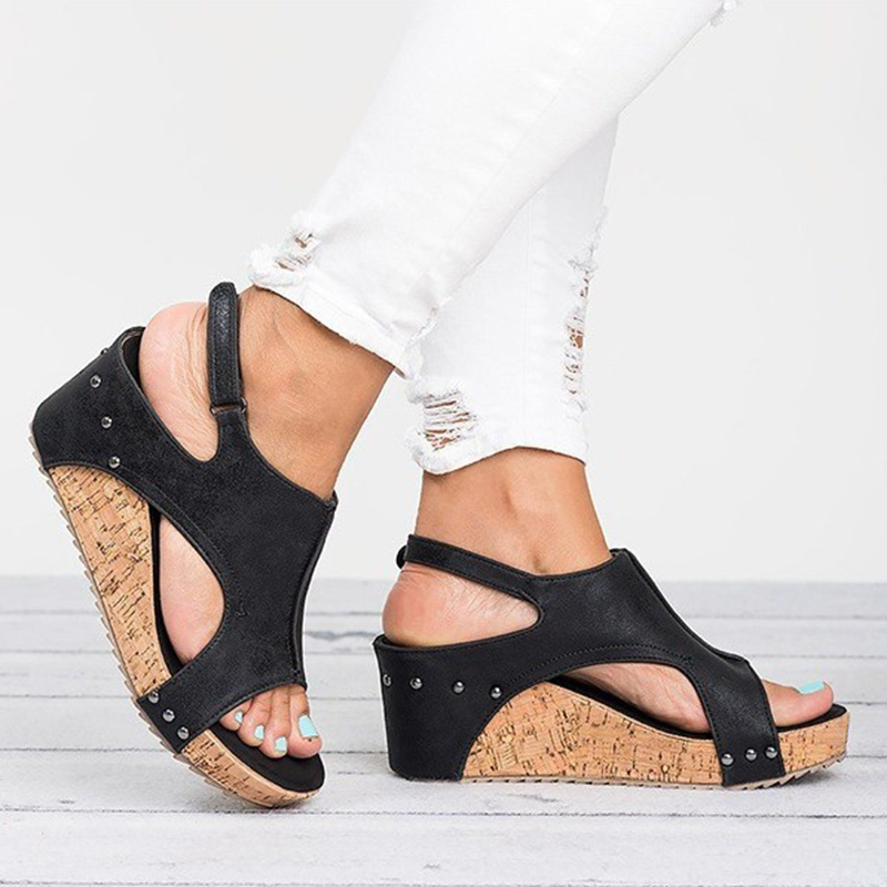 Platform Sandals Wedges Shoes For Women Heels Sandalias Mujer Summer Shoes 2019 new High quality PU Wedges Shoes sandals in Women 39 s Pumps from Shoes