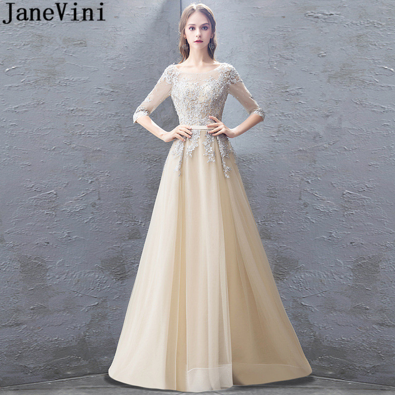JaneVini Elegant Appliqued Beaded   Prom     Dresses   With Half Sleeves 2019 Sequins Lace Tulle Long Graduation Party   Dress   Open Back