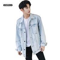 Retro Washed Light Blue Denim Jacket For Men Fashion Casual Loose Jean Outerwear Coat
