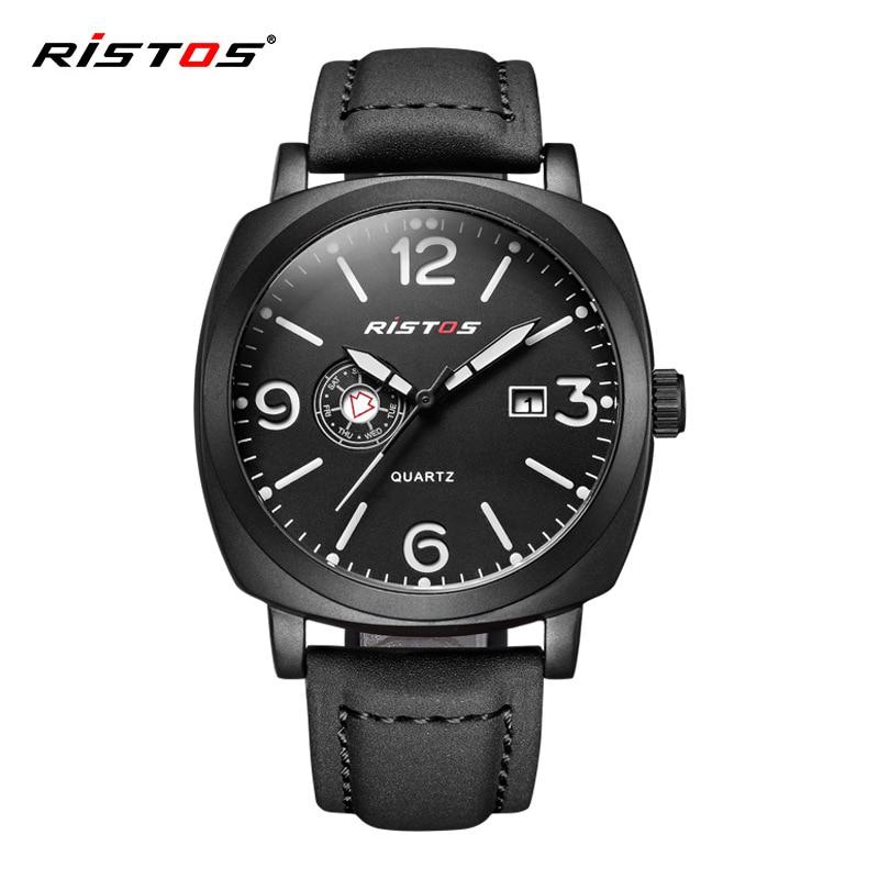 Fashion RISTOS Top Brand Square Unisex Watch Men Ladies Quartz Casual Leather Reloj Hombre Date Rose Gold Women Dress Clock thumbnail