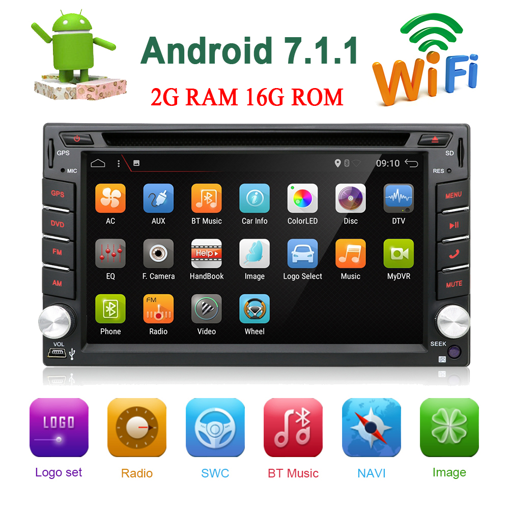 Android 7.1 Universal 2 Din Car Radio Bluetooth WIFI GPS Car Multimedia Player Car Stereo Touch Screen DVD FM USB Rear Camera