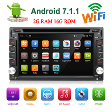 Android 7.1 Universale 2 Din Auto Radio Bluetooth WIFI GPS Car Multimedia Player Car stereo DVD Touch Screen FM USB macchina Fotografica di retrovisione