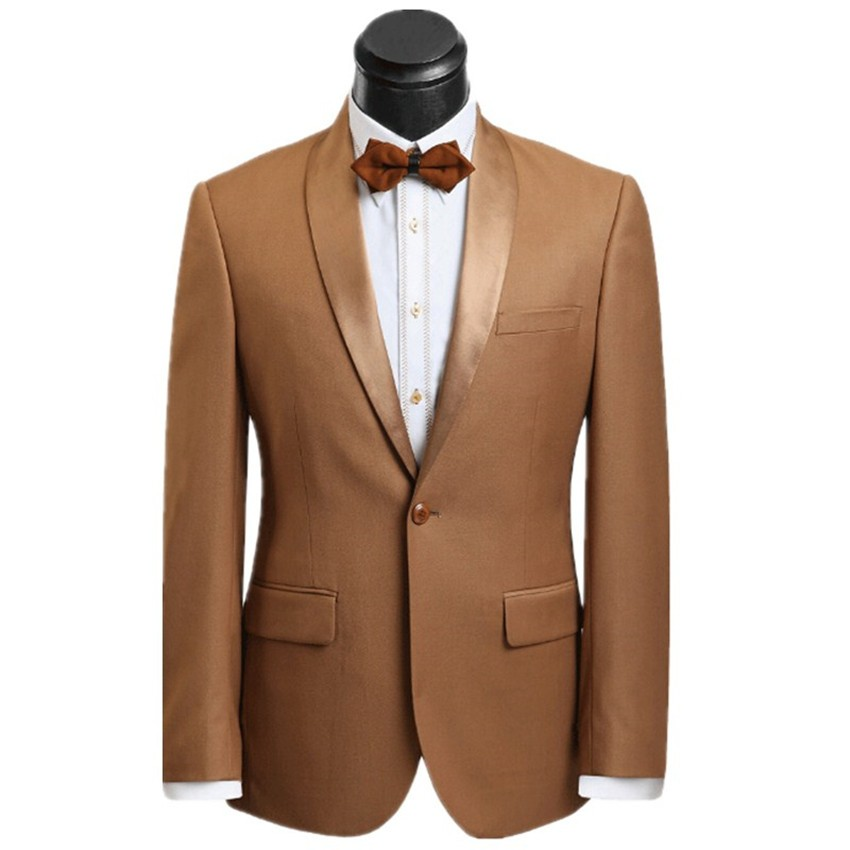 Latest Designs Champagne Tan Groom Tuxedos Satin Shawl Lapel 2 Piece Mens Wedding Party Suits Groomsman Bridegroom Blazer Terno