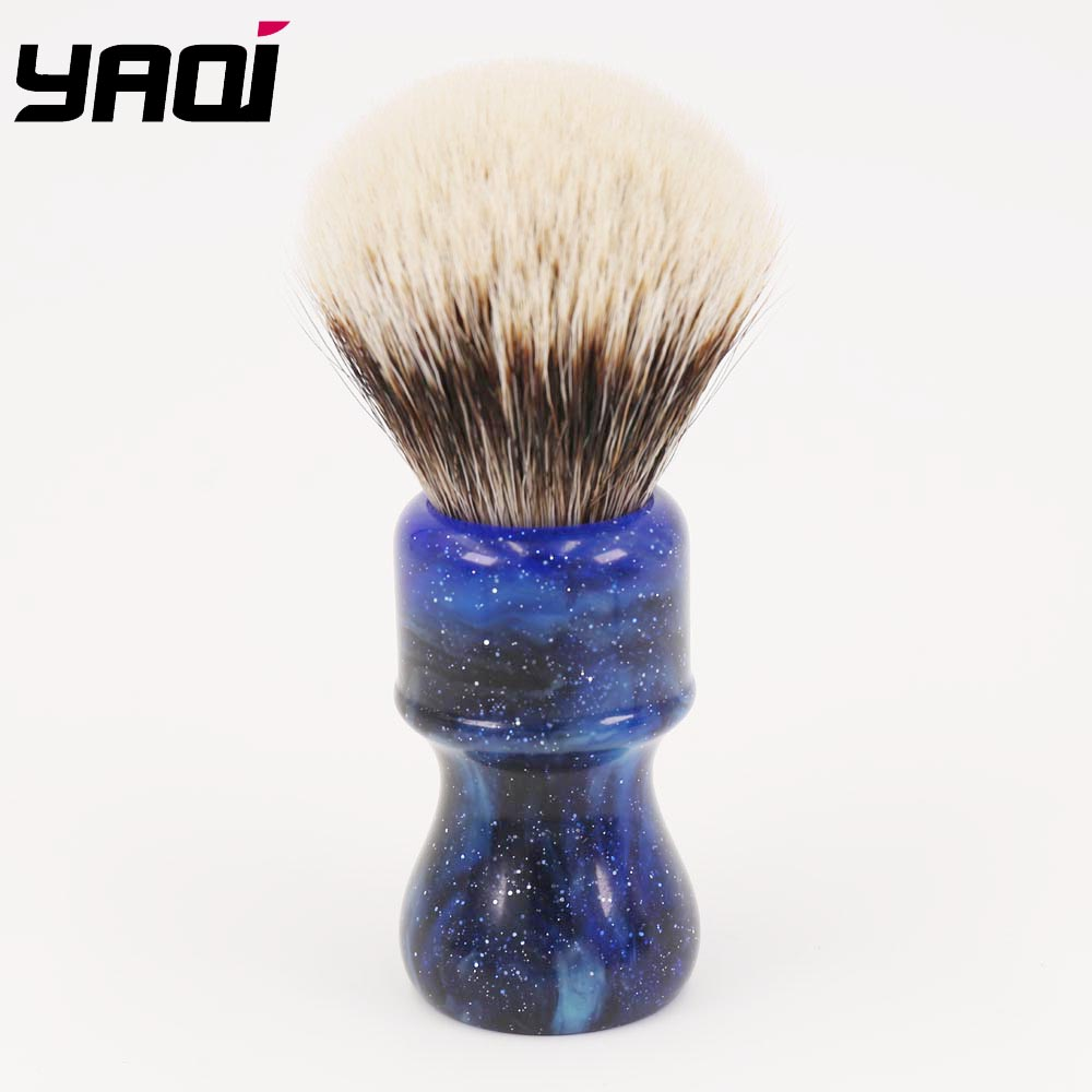 24MM Yaqi Mysterious Space Color Handle Two Band Badger Hair Knot Men Shaving Brushes two tone knot elastic hair band