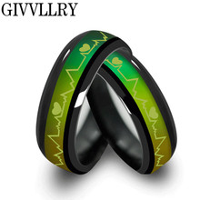 Černý titanový prsten s pruhem měnící barvu