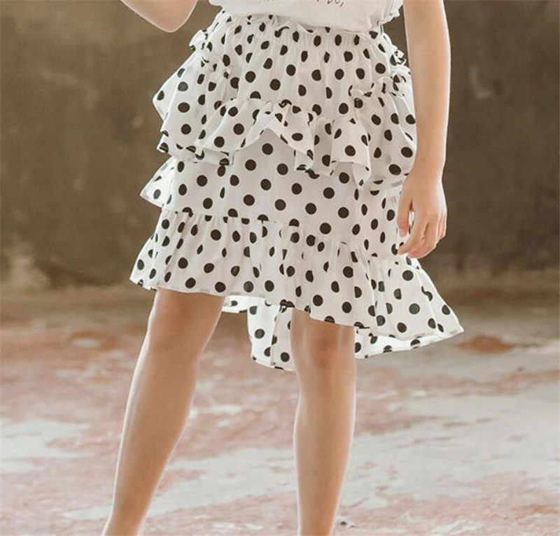 تنورة طويلة كلاسيكية ذات نقطة غير منتظمة لعمر 5-13 عامًا ملابس المراهقات لعام 2019 زي الأميرات الصيفي تنانير كبيرة من الشيفون للفتيات