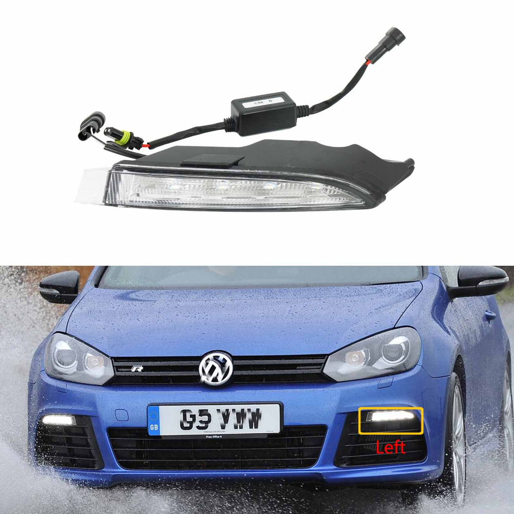 For VW Golf 6 MK6 R20 2009 2010 2011 2012 2013 Left Side LED DRL Daytime Running Light Fog Lamp Fog Light Car LED Light ecahayaku 1set 12v waterproof daytime running light drl fog lamp with fog hole for ford focus hatchback 2009 2010 2011 2012 2013