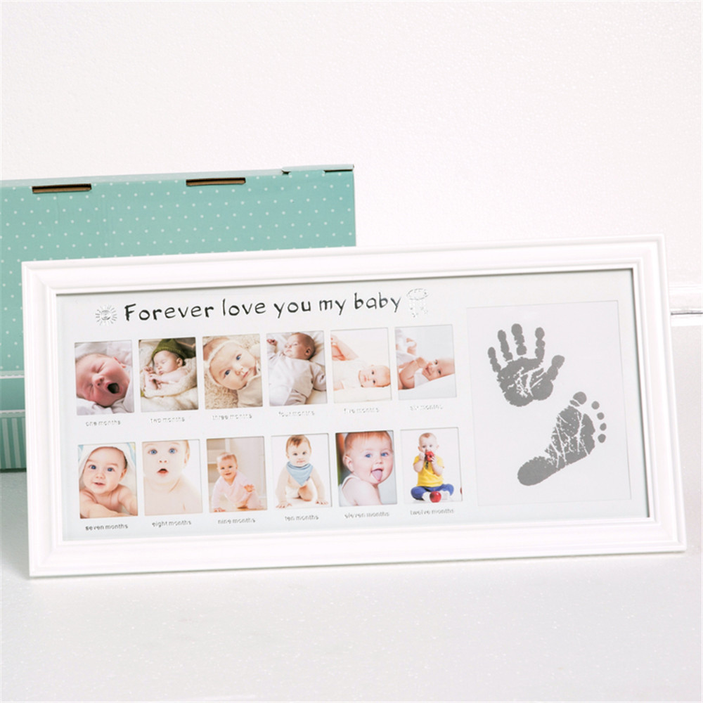Taoqueen Baby Photo Frame Newborn Photo Frame Wall for Pictures Handprint Footprint Ink Pad Frame Kid Gift Cadre Room Decor infant baby children handprint footprint white contracted hanging wall photo frame christmas gifts for children scale 3 5